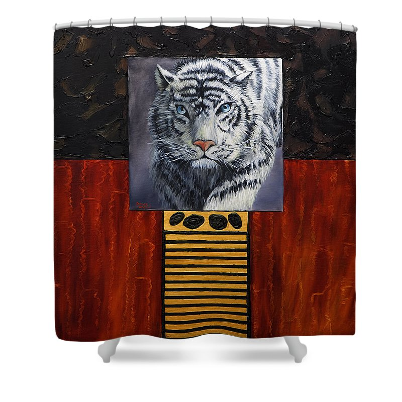 Animal Shower Curtain featuring the painting White Tiger by Darice Machel McGuire