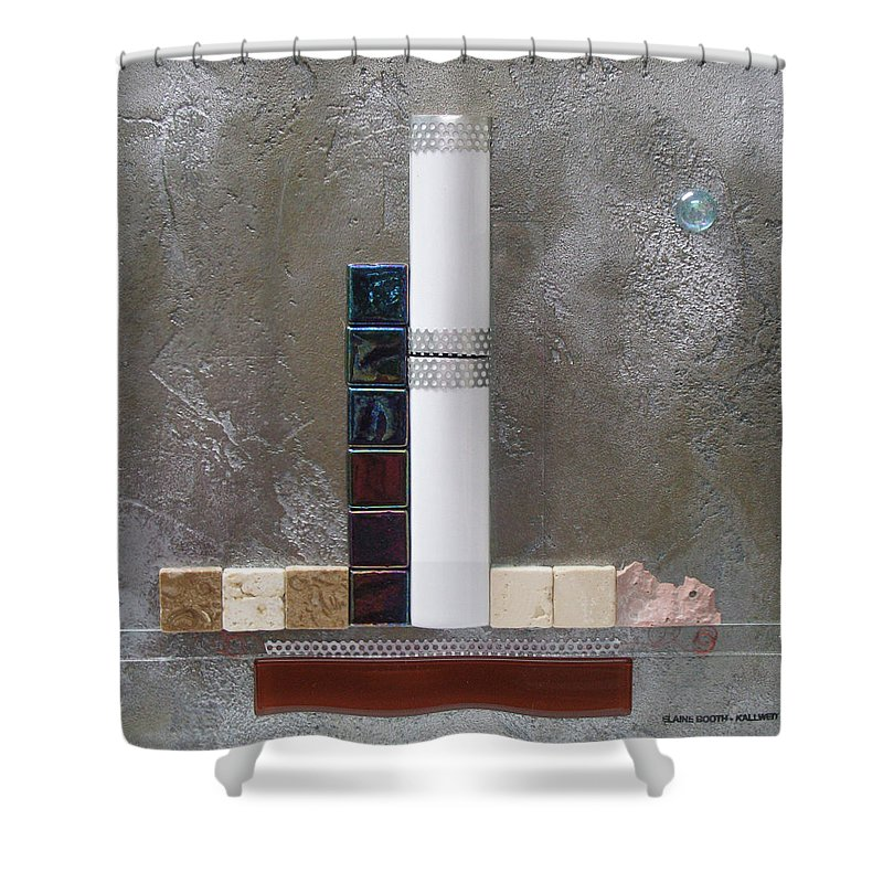 Assemblage Shower Curtain featuring the relief White Tower by Elaine Booth-Kallweit