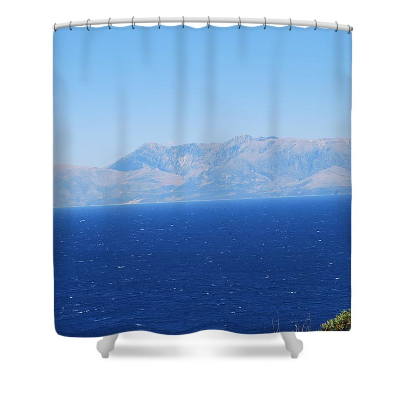 White Trail Shower Curtain featuring the photograph White Trail by George Katechis