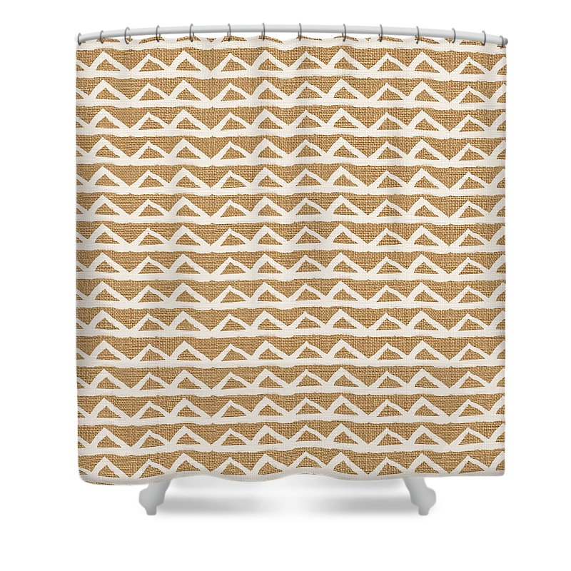 Triangles Shower Curtain featuring the mixed media White Triangles on Burlap by Linda Woods