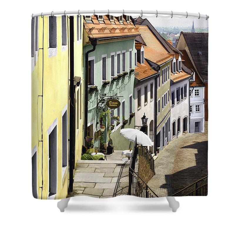 Cafe Shower Curtain featuring the photograph White Umbrella Cafe by Sharon Foster