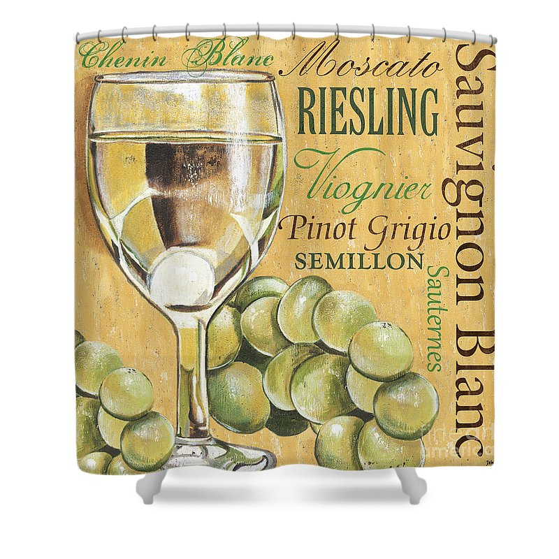 Wine Shower Curtain featuring the painting White Wine Text by Debbie DeWitt