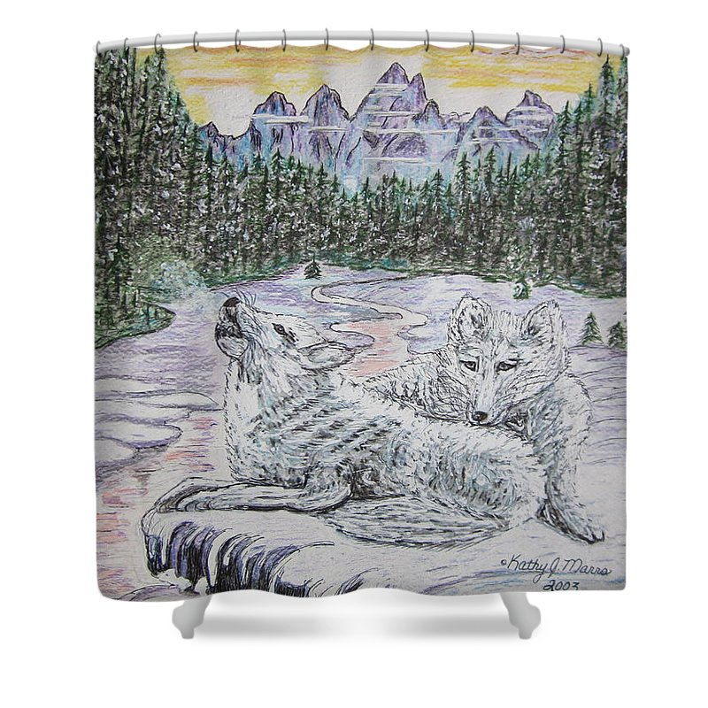 White Wolves Shower Curtain featuring the painting White Wolves by Kathy Marrs Chandler