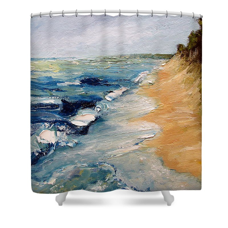 Whitecaps Shower Curtain featuring the painting Whitecaps On Lake Michigan 3.0 by Michelle Calkins