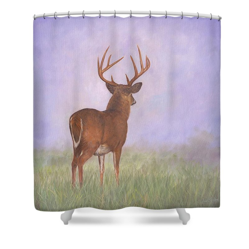 Whitetail Shower Curtain featuring the painting Whitetail by David Stribbling