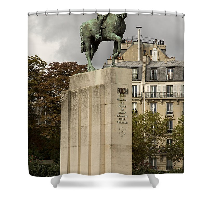 Statue Shower Curtain featuring the photograph Who Is This Foch? by Hany J