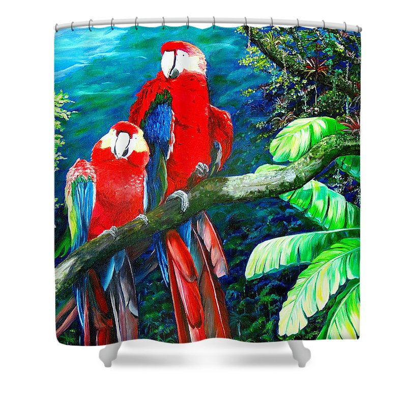 Caribbean Painting Green Wing Macaws Red Mountains Birds Trinidad And Tobago Birds Parrots Macaw Paintings Greeting Card  Shower Curtain featuring the painting Who Me  by Karin Dawn Kelshall- Best
