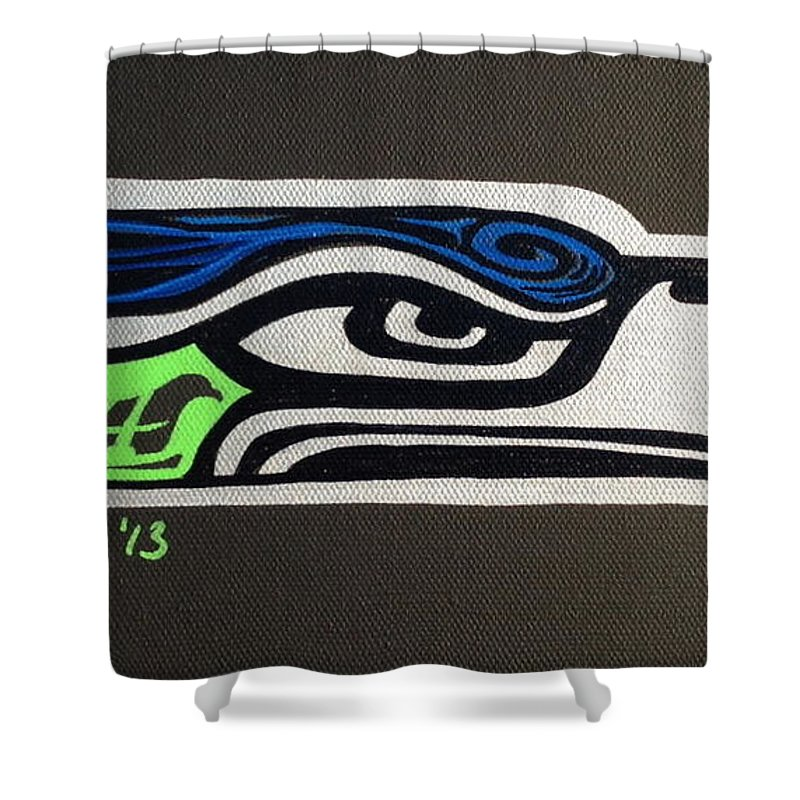 Seattle Seahawks Shower Curtain featuring the painting Who Ready by A Cyaltsa Finkbonner