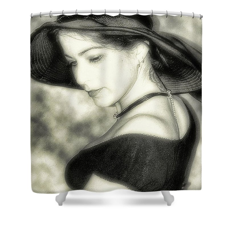 Black And White Shower Curtain featuring the photograph Wiccan Lady by Kristie Bonnewell