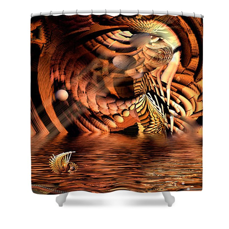 Phil Sadler Shower Curtain featuring the digital art Wickerlight by Phil Sadler