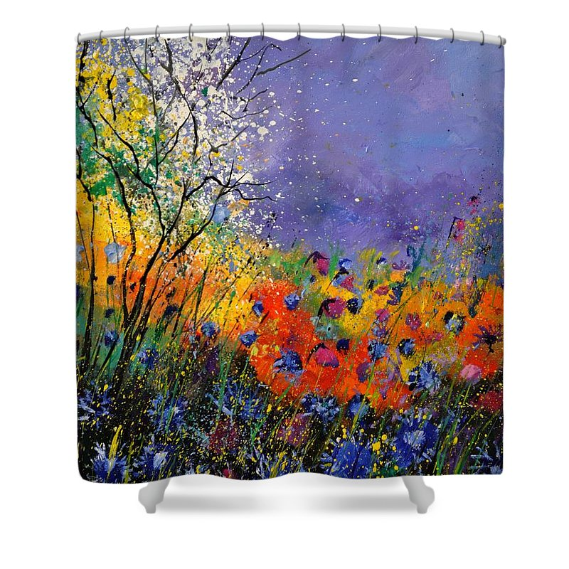 Landscape Shower Curtain featuring the painting Wild Flowers 4110 by Pol Ledent