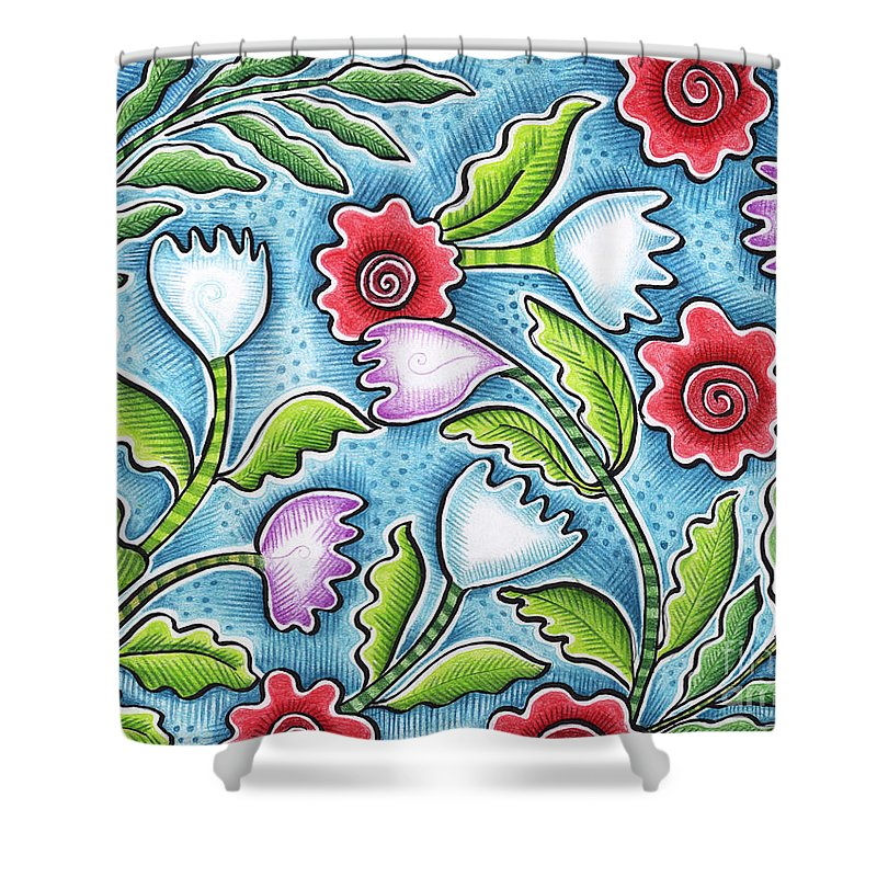 Leafy Shower Curtain featuring the painting Wild Flowers by Elaine Jackson