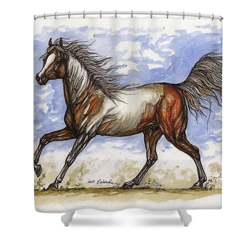 Wild Horse Shower Curtain featuring the painting Wild Mustang by Angel Ciesniarska