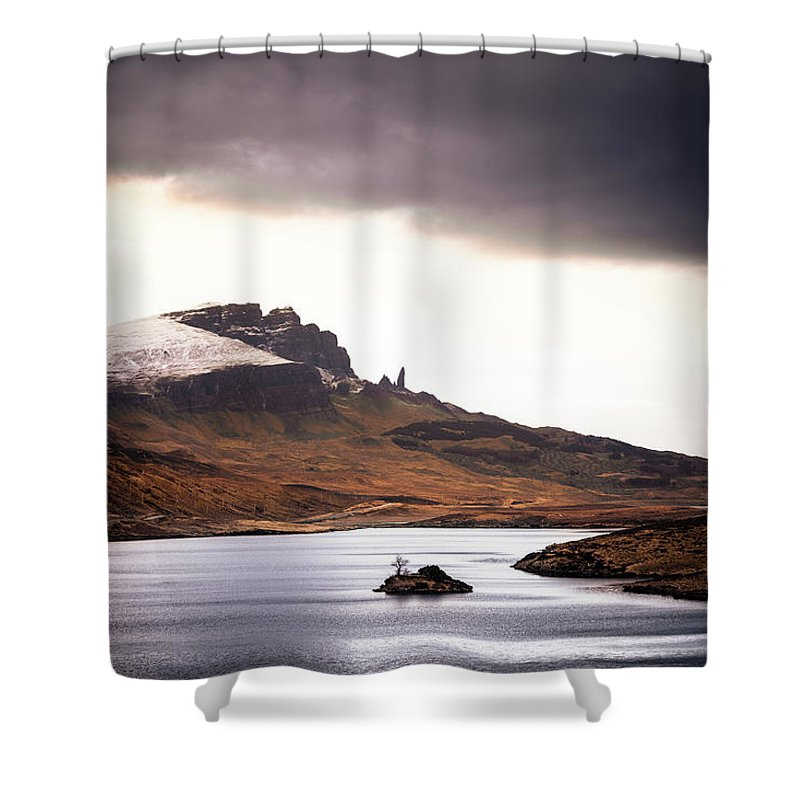 Water's Edge Shower Curtain featuring the photograph Wild Nature Landscape In Scotland, Isle by Zodebala