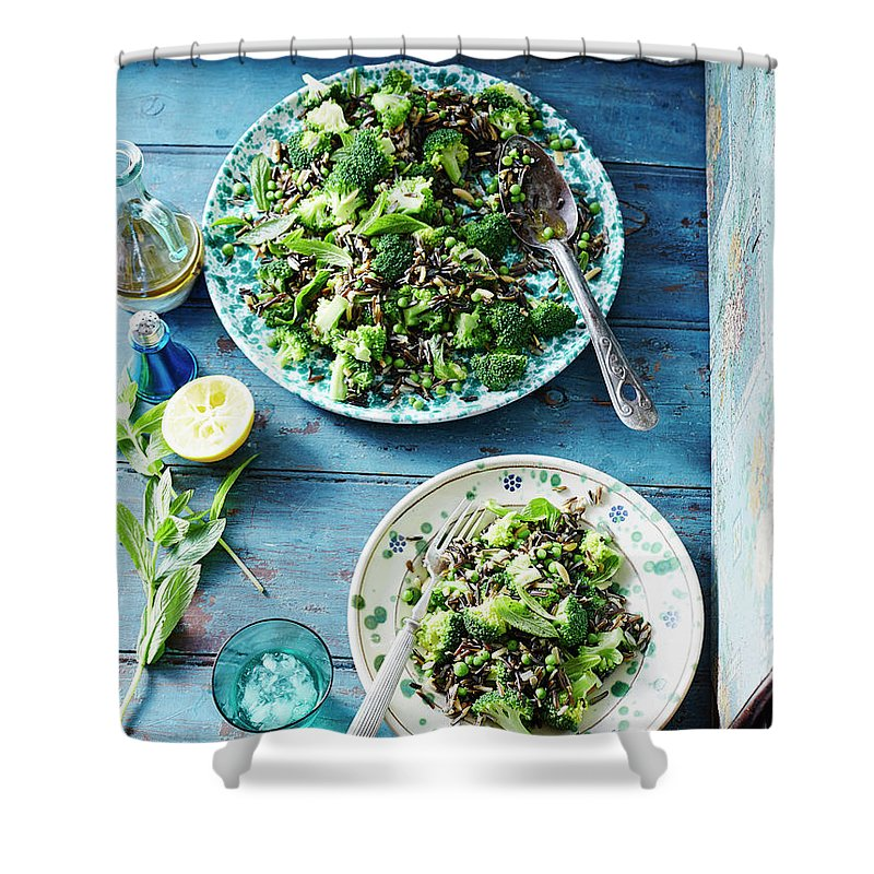 Broccoli Shower Curtain featuring the photograph Wild Rice, Pea And Broccoli Salad by Brett Stevens