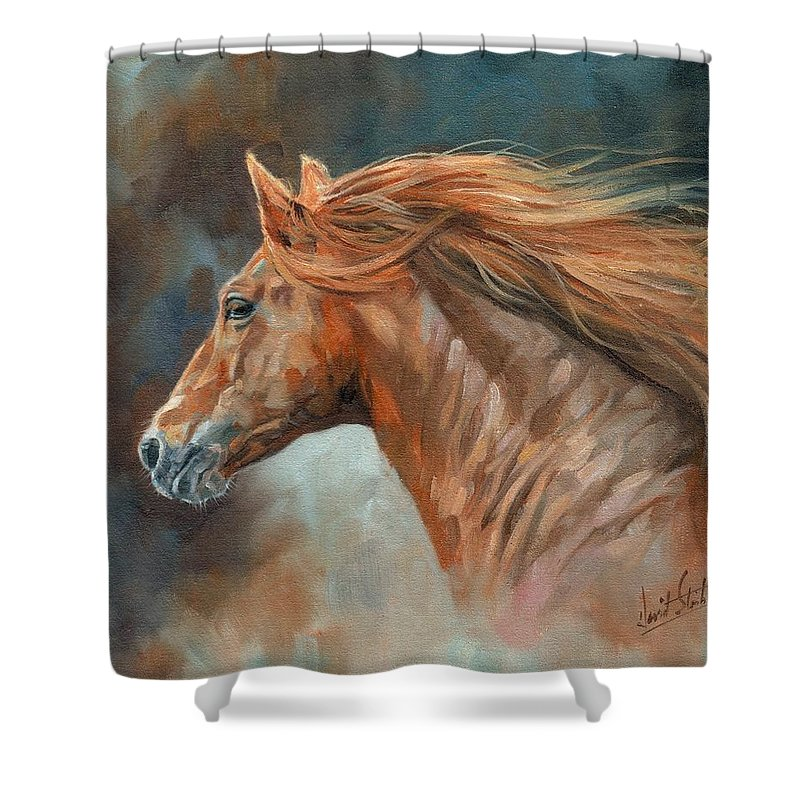 Horse Shower Curtain featuring the painting Wild Stallion by David Stribbling