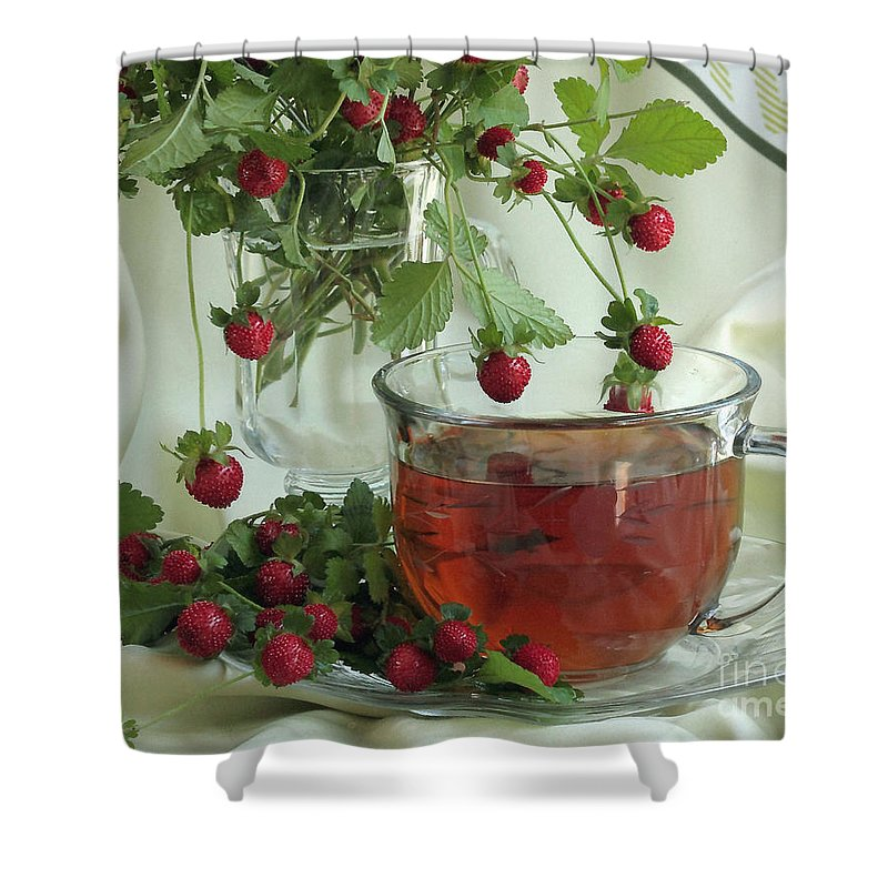 Strawberry Shower Curtain featuring the photograph Wild Strawberry Tea by Luv Photography