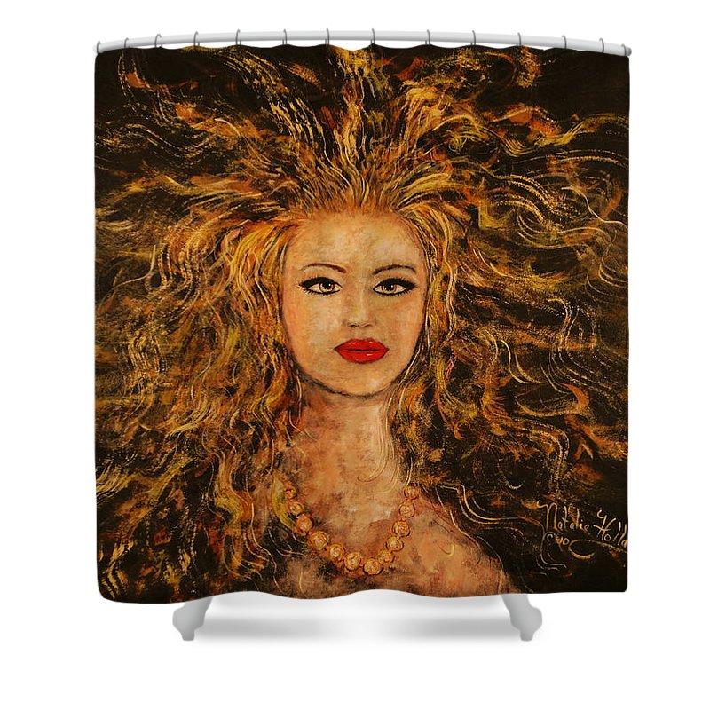 Wild Tigress Shower Curtain featuring the painting Wild Tigress by Natalie Holland