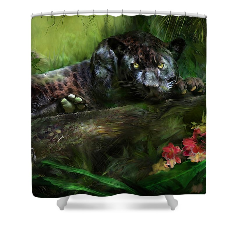 Panther Shower Curtain featuring the mixed media Wildeyes - Panther by Carol Cavalaris