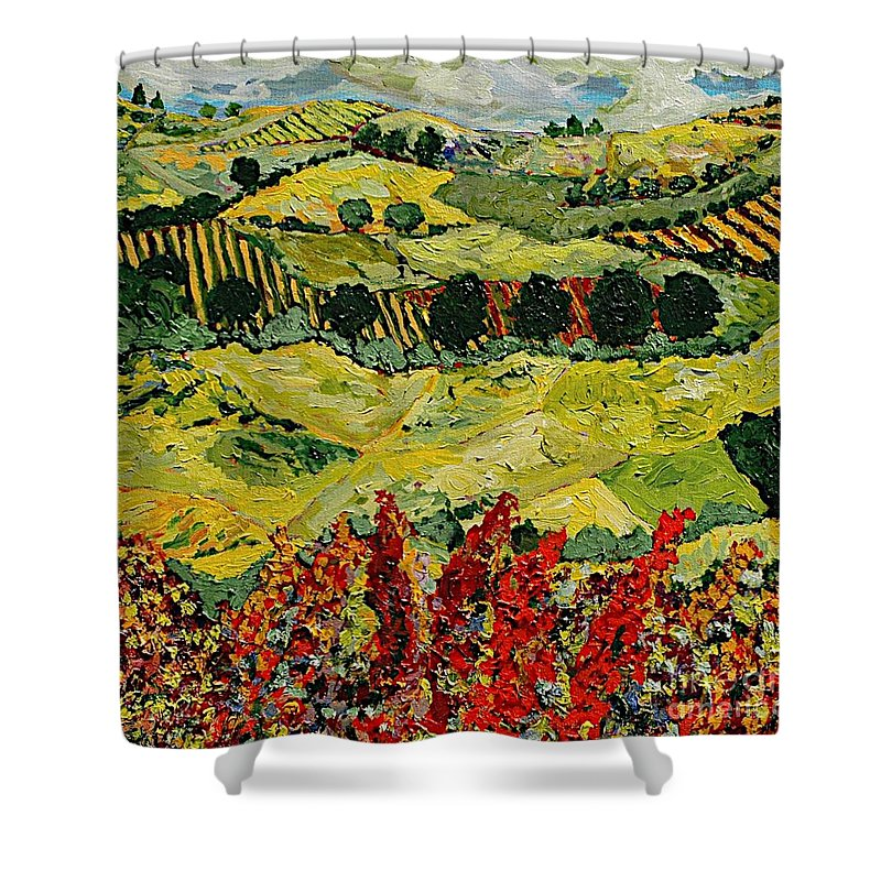 Landscape Shower Curtain featuring the painting Wildflower Jungle by Allan P Friedlander