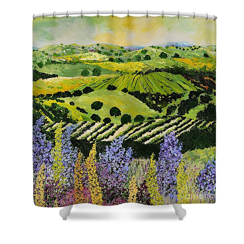 Landscape Shower Curtain featuring the painting Wildflower Ridge by Allan P Friedlander