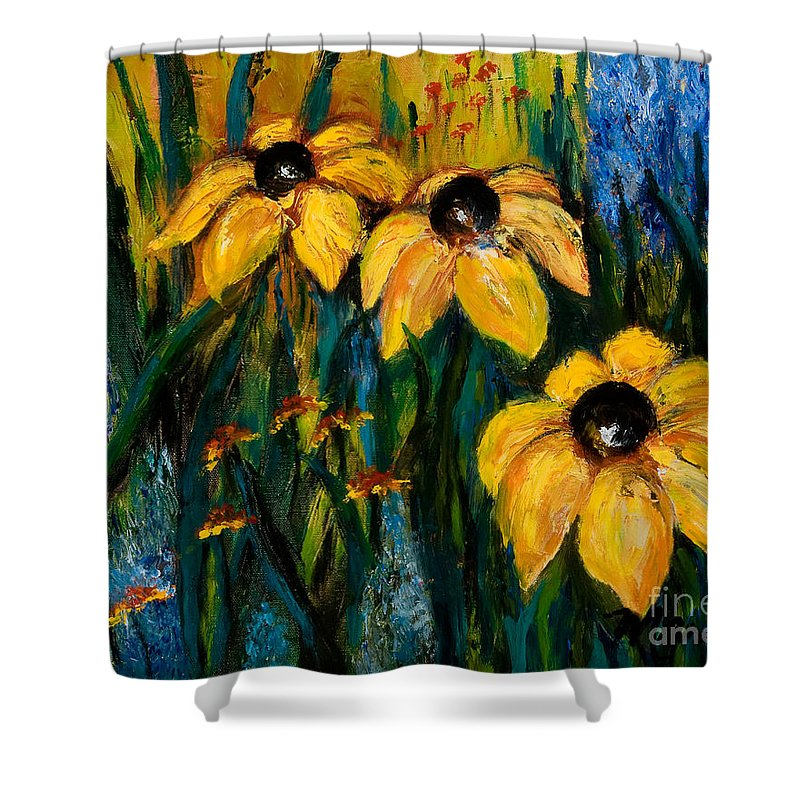 Floral Shower Curtain featuring the painting Wildflowers by Larry Martin