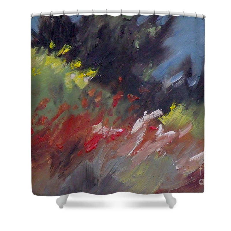 Monterey Shower Curtain featuring the painting Wildflowers by Mary Hubley