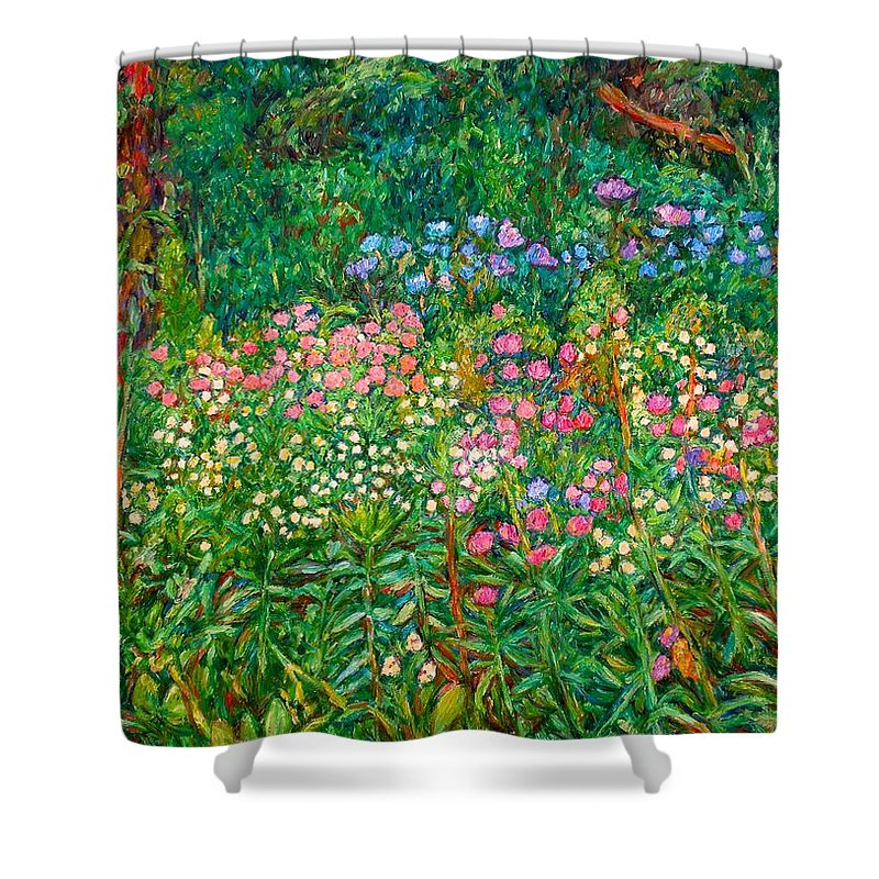 Floral Shower Curtain featuring the painting Wildflowers Near Fancy Gap by Kendall Kessler