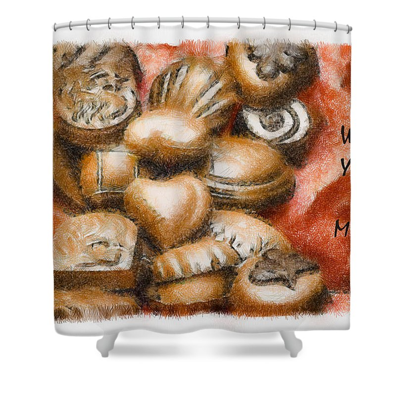 Candy Shower Curtain featuring the mixed media Will You Be Mine by Trish Tritz