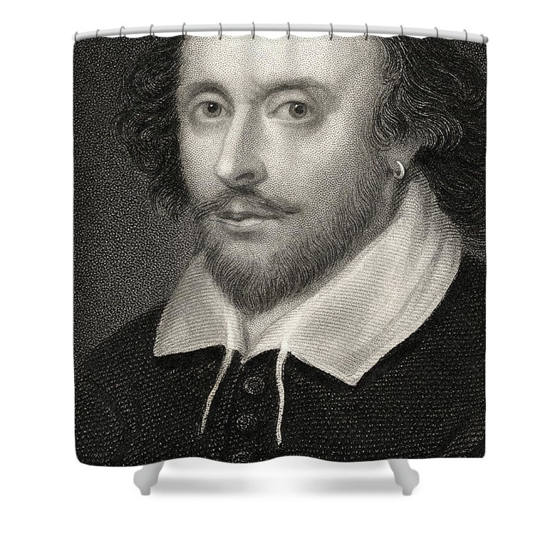 Poet Shower Curtain featuring the drawing William Shakespeare by English School