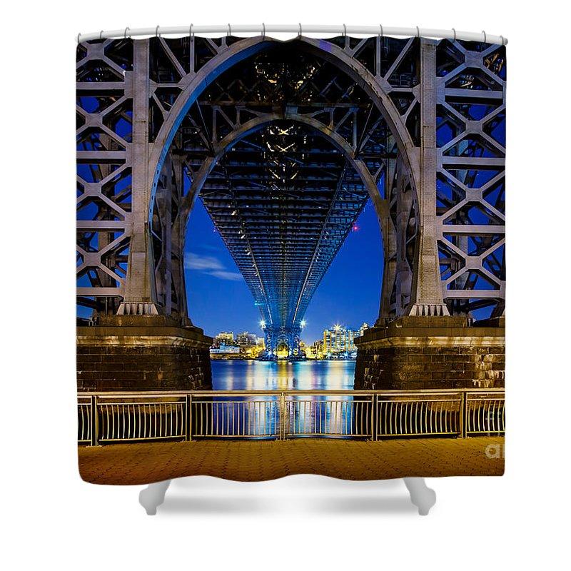Williamsburg Bridge Shower Curtain featuring the photograph Blue Punch by Az Jackson