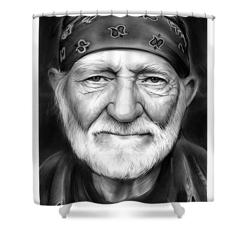 Singer Shower Curtain featuring the drawing Willie Nelson by Greg Joens