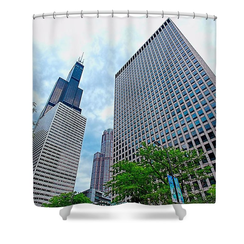 Sears Tower Shower Curtain featuring the photograph Willis Tower by Jenny Hudson