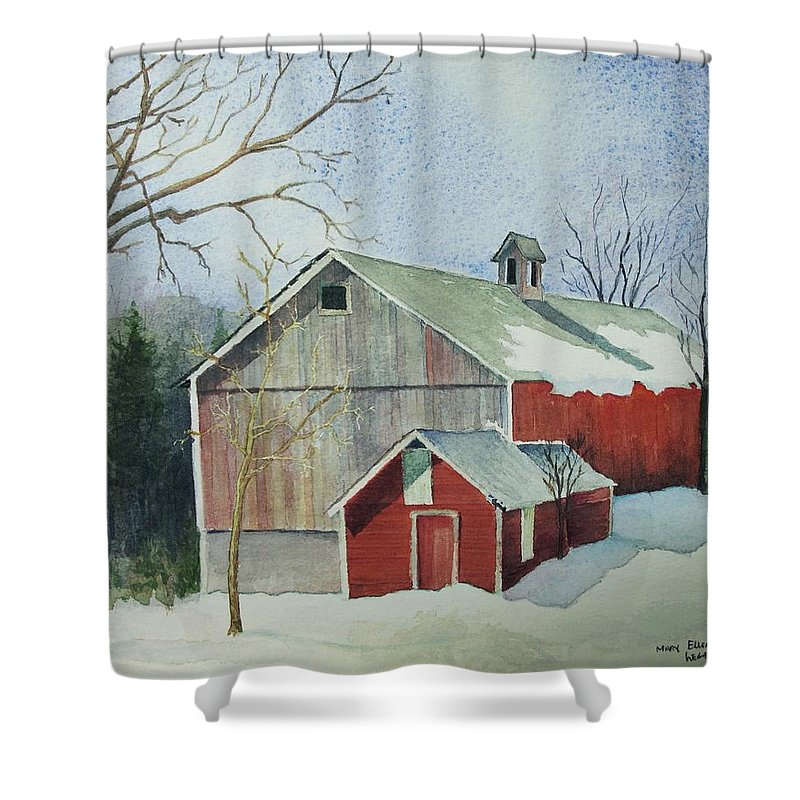 New England Shower Curtain featuring the painting Williston Barn by Mary Ellen Mueller Legault