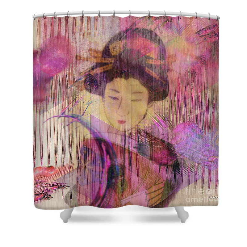 Geisha Shower Curtain featuring the digital art Willow World - Square Version by John Beck