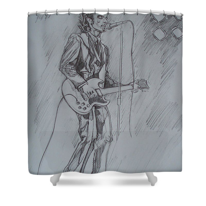 Pencil Shower Curtain featuring the drawing Willy Deville - Steady Drivin' Man by Sean Connolly