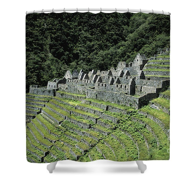 Peru Shower Curtain featuring the photograph Winay Wayna Inca Trail Peru by James Brunker