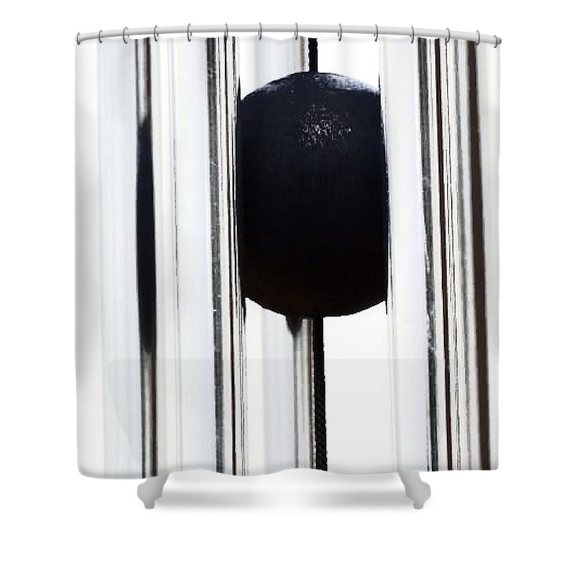 Black Shower Curtain featuring the photograph Wind Chime In Black And White by John Feiser