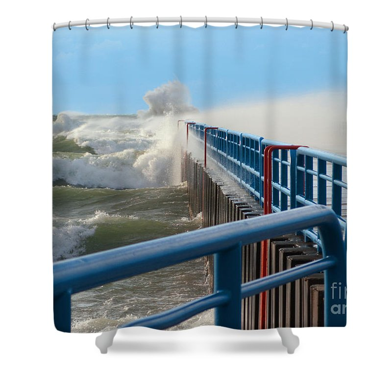 Lake Michigan Shower Curtain featuring the photograph Wind-driven Lake by Ann Horn