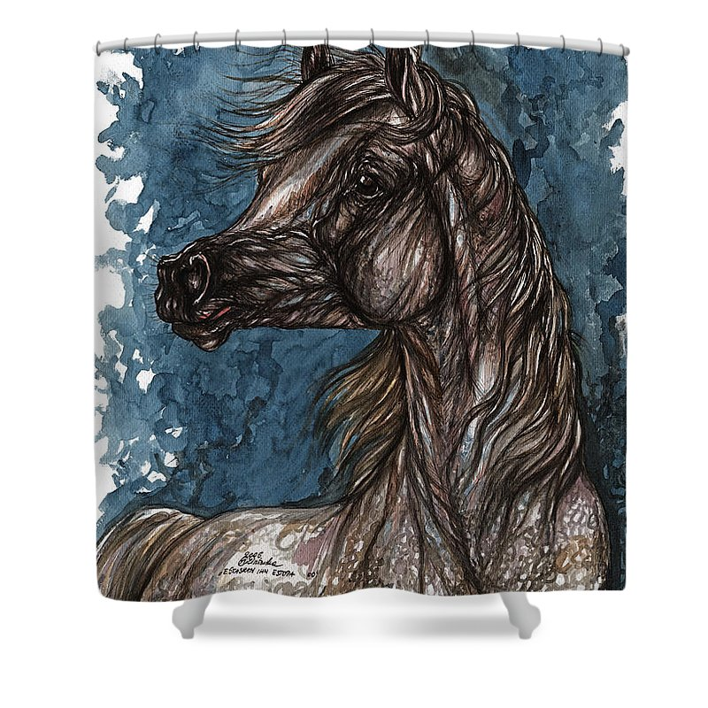 Blue Shower Curtain featuring the painting Wind In The Mane by Angel Ciesniarska