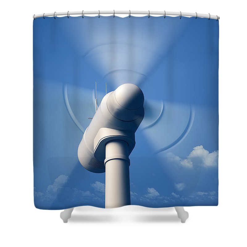 Wind Shower Curtain featuring the photograph Wind Turbine Rotating Close-up by Johan Swanepoel