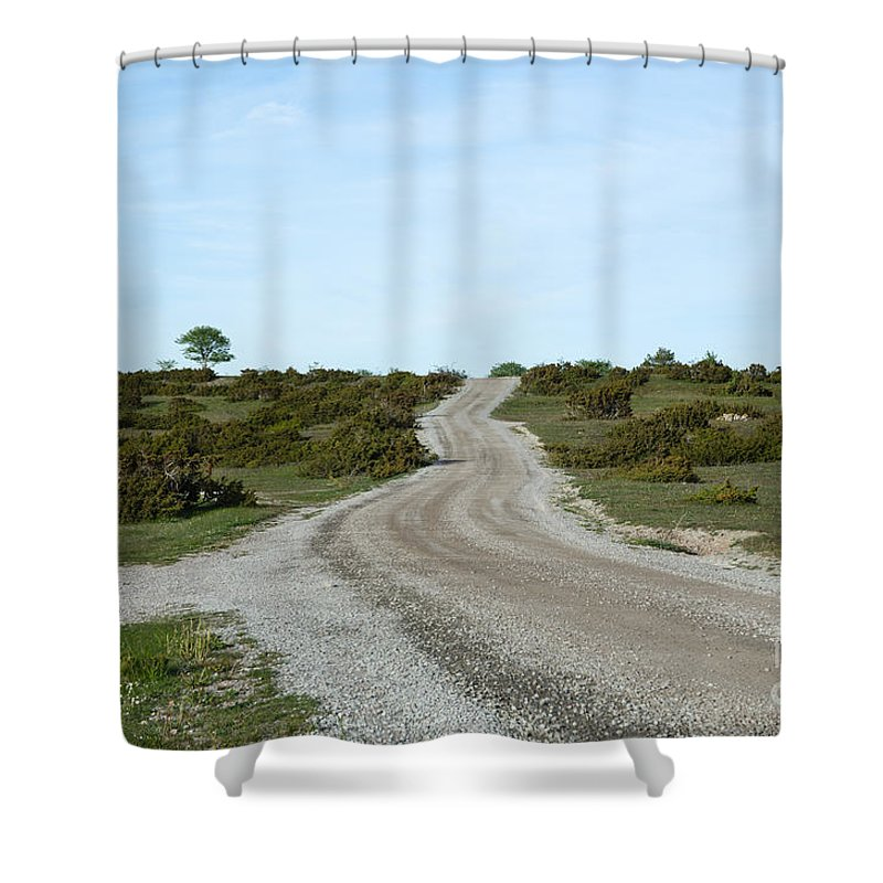 Beautiful Shower Curtain featuring the photograph Winding Gravel Road Through A Landscape With Lots Of Junipers by Kennerth and Birgitta Kullman