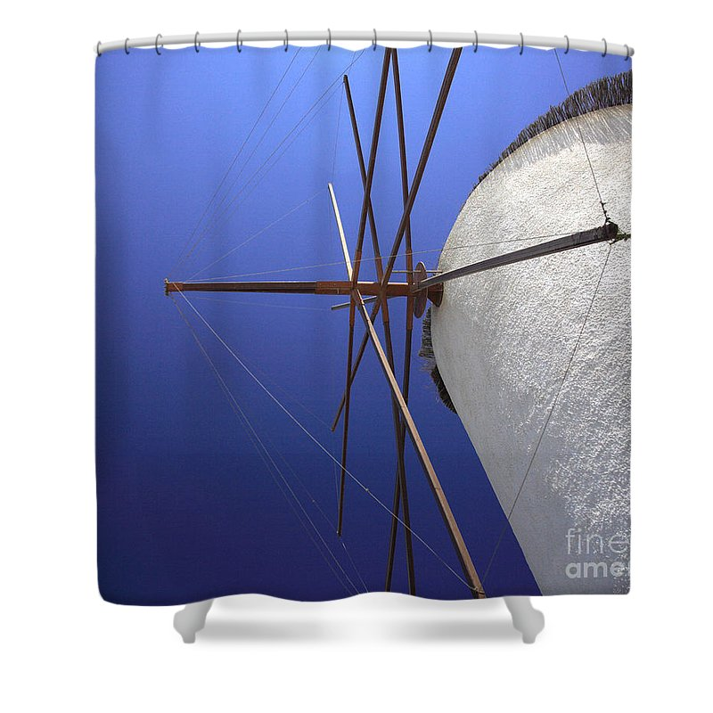 Aegean Shower Curtain featuring the photograph Windmill Masts by Deborah Benbrook