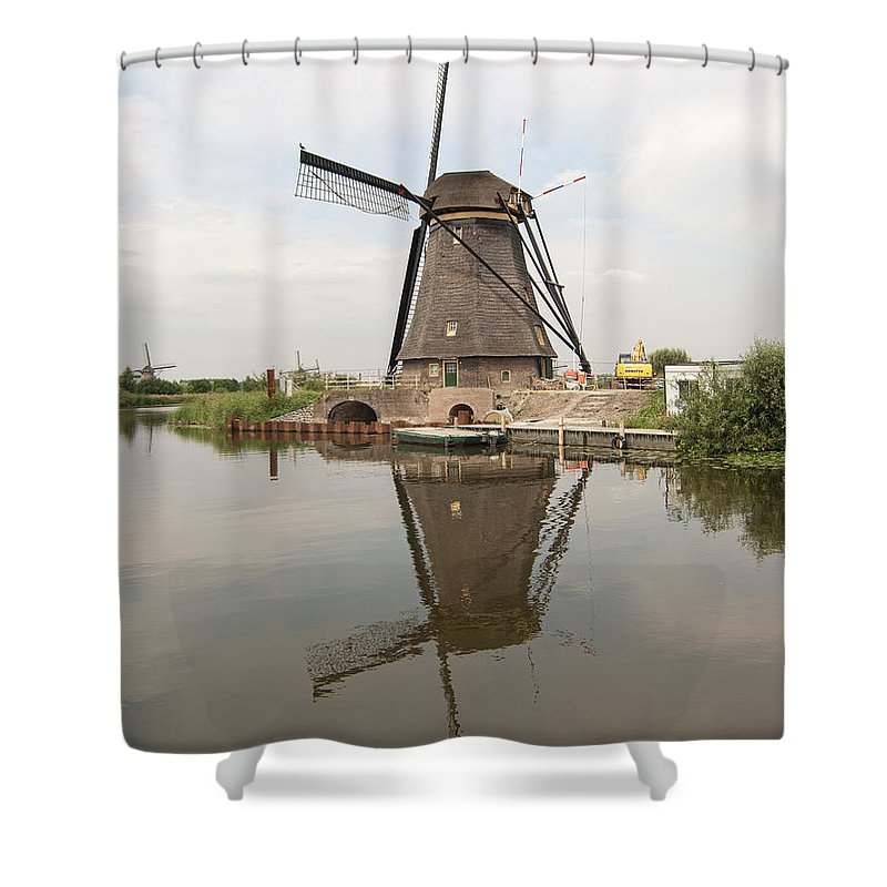 Windmill Shower Curtain featuring the photograph Windmill Reflection by Phyllis Taylor