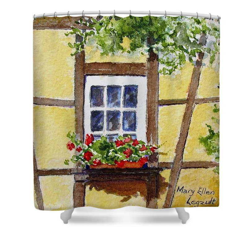 Window Shower Curtain featuring the painting Window Alsace by Mary Ellen Mueller Legault