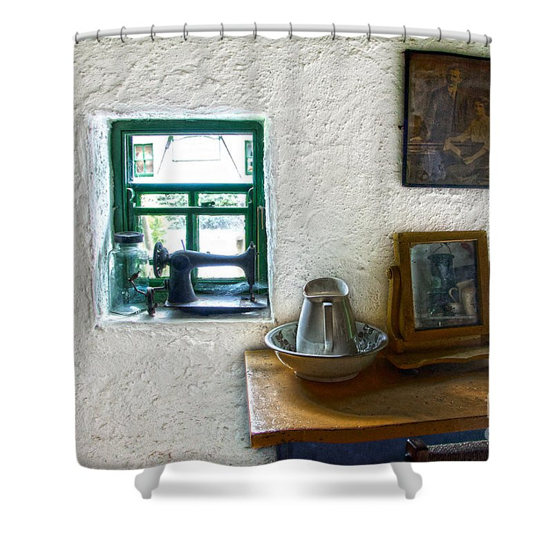 Window Shower Curtain featuring the photograph Window And Little Dressing Table In An Old Thatched Cottage by RicardMN Photography