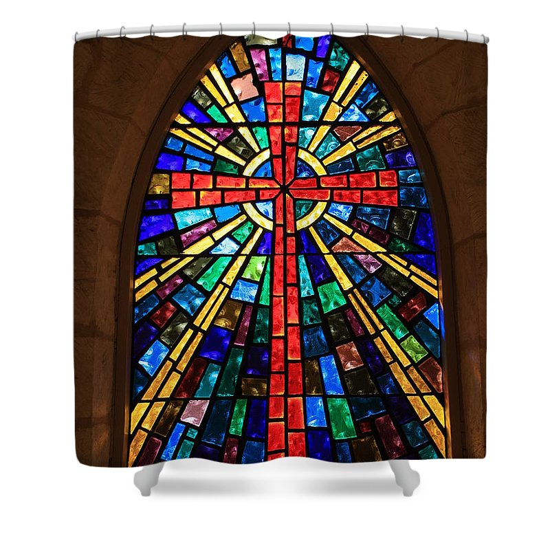 Window Shower Curtain featuring the photograph Window At The Little Church In La Villita by Carol Groenen
