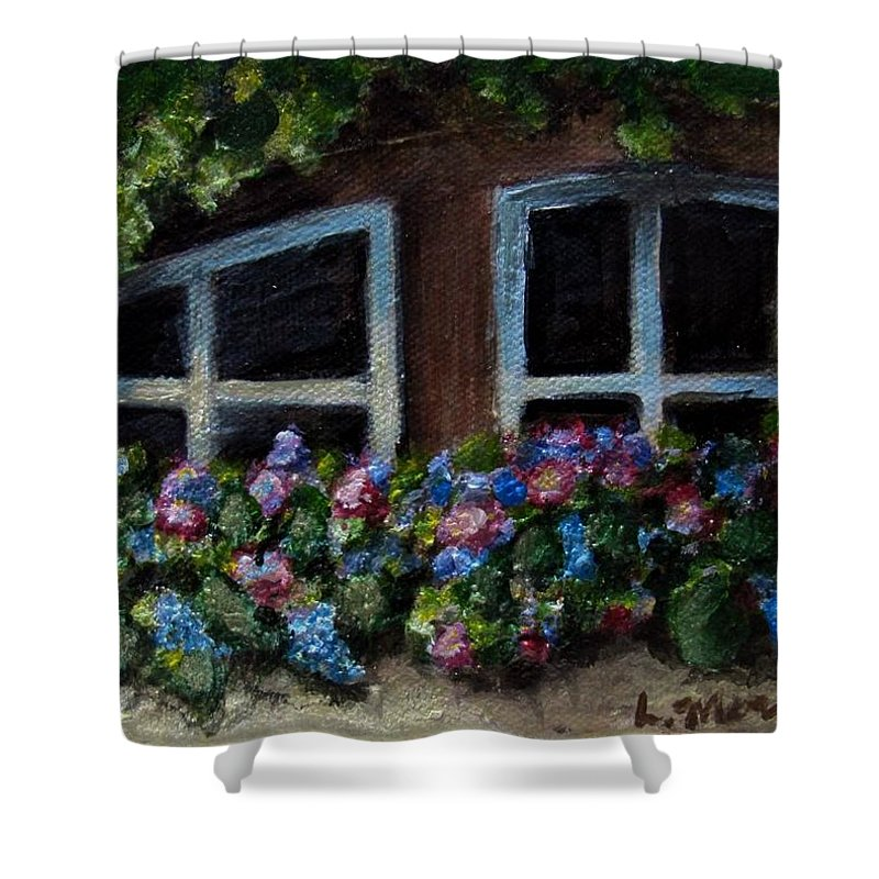 Window Box Shower Curtain featuring the painting Window Box Wonder by Laurie Morgan