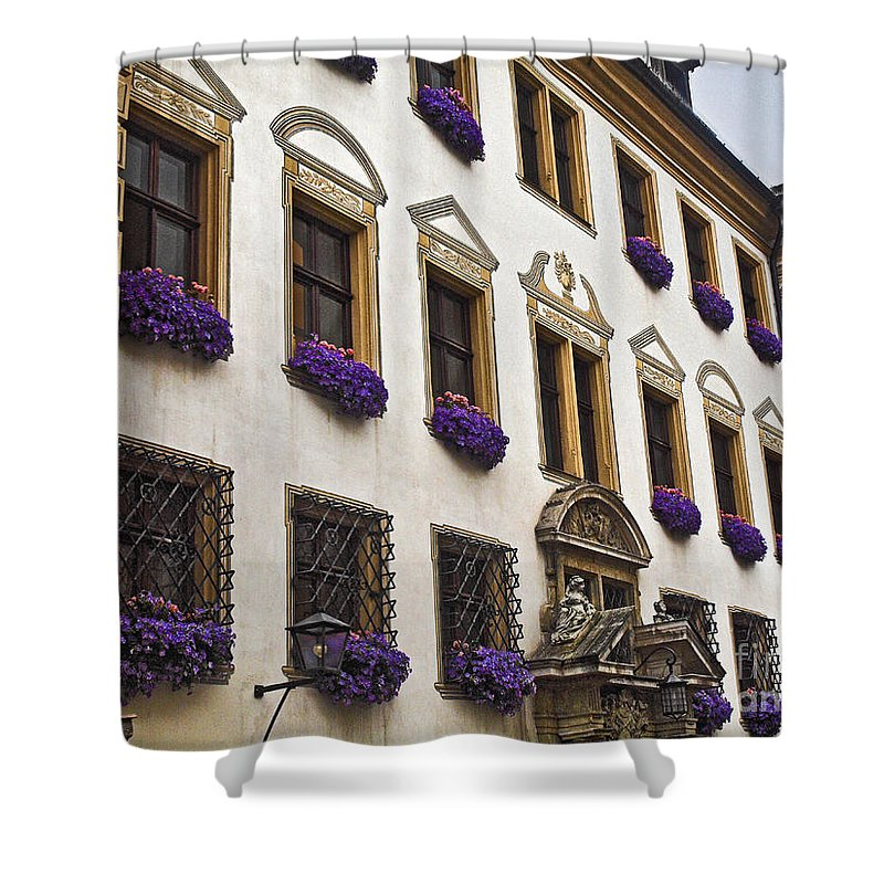 Window Boxes Shower Curtain featuring the photograph Window Boxes In Germany by Howard Stapleton