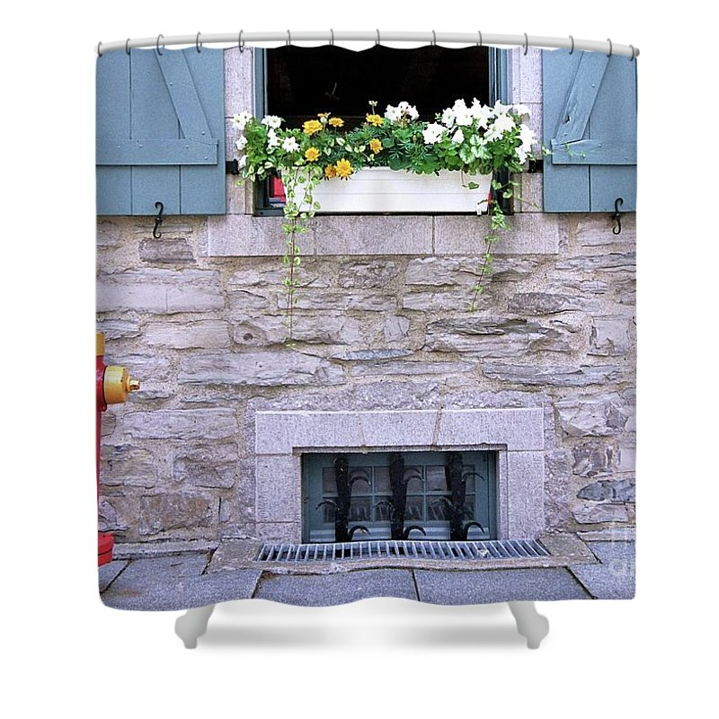 Quebec Flower Box Shower Curtain featuring the photograph Window Flower Box 2 by Allen Beatty